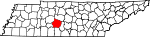 State map highlighting Maury County