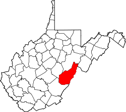 Map of West Virginia highlighting Pocahontas County.svg