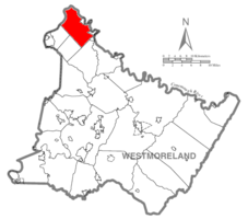 Map of Westmoreland County, Pennsylvania Highlighting Allegheny Township