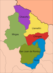 The district of San Juan de Rontoy (dark green) is located in the south of the province of Antonio Raymondi