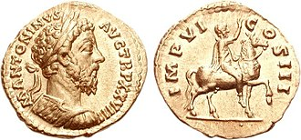 Equestrian Statue of Marcus Aurelius - Aureus of Marcus Aurelius (AD December 173- June 174), with his equestrian statue on the reverse.