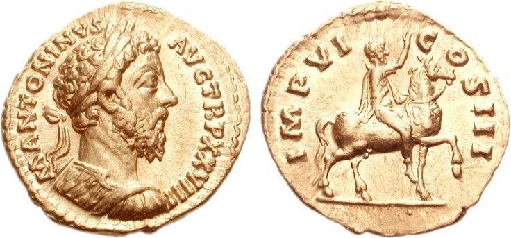 Marcus Aurelius, aureus, AD 174, RIC III 295
