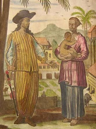Indos in pre-colonial history - Painting of a Portuguese Mardijker and his wife, 1704.