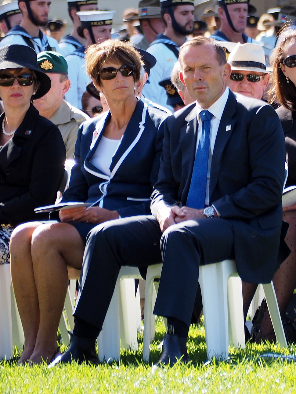 Margie Abbott and Tony Abbott at the Canberra Operation Slipper Welcome Home Ceremony in March 2015