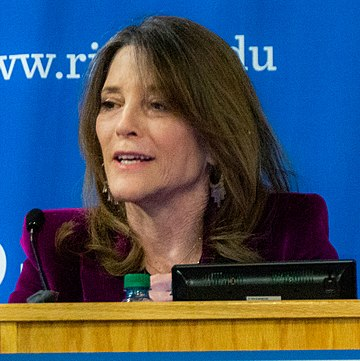 New Age author Marianne Williamson campaigned for a seat in the U.S. Congress and for the Democratic Party nomination for president. Marianne Williamson (46644134).jpg