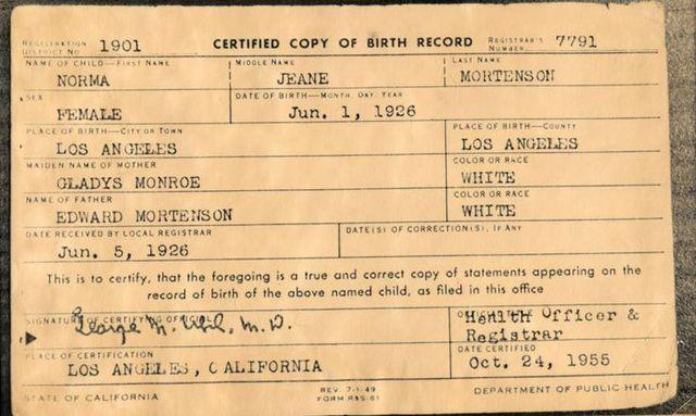 Свидетельство о рождении Нормы Джин Мортенсон