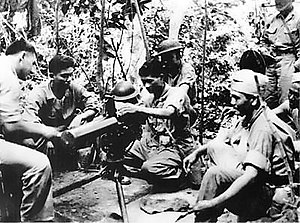 Military history of Asian Americans - Filipino aviation cadets being trained by a U.S. Marine on use of a M1917 Browning machine gun in the Philippine Islands
