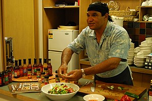 Mark Olive - Olive cooking with bush tucker in 2008.