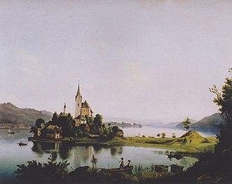Maria Wörth - Maria Wörth, painting by Markus Pernhart (1824–1871)