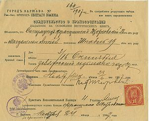 Marriage certificate - Marriage certificate issued in Russian in the Congress Poland, 1907