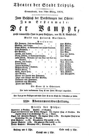 Der Vampyr - Contemporary Der Vampyr poster, from 1828