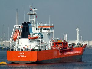 Marte at the Calland canal, Port of Rotterdam, Holland 23-Jul-2006.jpg