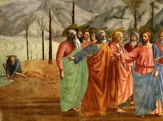 "Jesus and the Twelve Apostles depicted with ""Floating"" disk haloes in perspective (detail from The Tribute Money, illustrating Matthew 17:24-27, by Masaccio, 1424, Brancacci Chapel)."