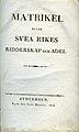 Matrikel öfver Svea rikes ridderskap och adel (1816) titelblad.jpg