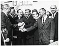 Mayor John F. Collins, Massachusetts Governor Endicott Peabody, Vice President Hubert Humphrey, Massachusetts Attorney General Edward McCormack, and unidentified men (10926295275).jpg