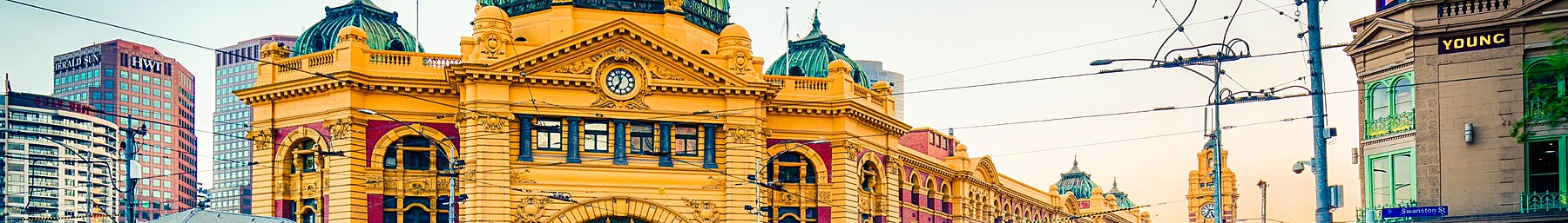 Flinders Street Station at the Swanston and Flinders intersection in the city