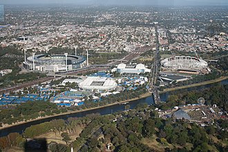 Melbourne Park - The Melbourne Sports and Entertainment Precinct with Melbourne Park being situated between Yarra Park and the MCG to the left and AAMI Park and Olympic Park to the right