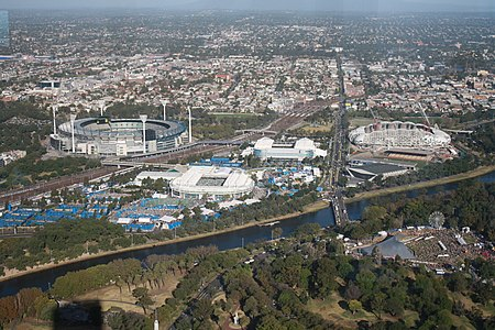 Melbourne Park in 2010. During the Australian Open from Eureka Tower.