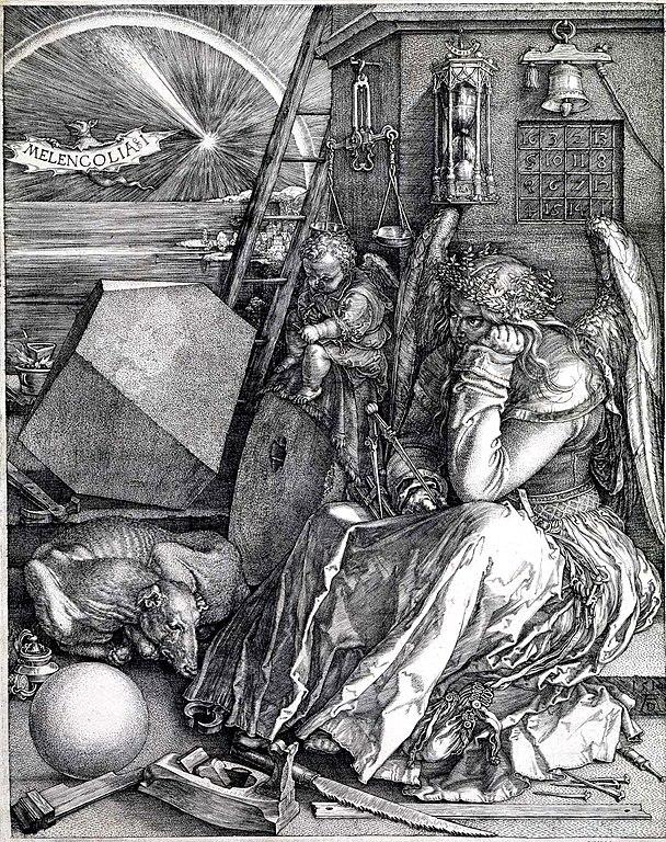 """Albrecht Dürers """"Melencolia I"""". Kopparstick (1514)."""