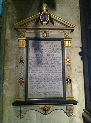 Arthur Headlam - Memorial in Gloucester Cathedral