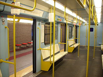 Milan Metro Line 3 - Inside an original line M3 train.