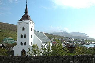 Miðvágur Village in Faroe Islands, Kingdom of Denmark