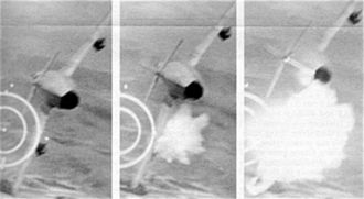 Post–World War II air-to-air combat losses - Gun camera sequence photos showing a North Vietnamese MiG-17 being hit and shot down by 20 mm shells from a U.S. Air Force F-105D Thunderchief during the Vietnam War 3 June 1967