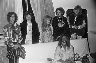 The Beatles in Bangor - Jagger, Faithfull and Brian Jones (back row: second, third and fifth from left, respectively) meeting with the Maharishi in Amsterdam in September 1967