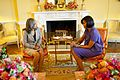 Michelle Obama talks with Mrs. Elizabeth Preval, the First Lady of Haiti, 2010.jpg