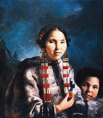 Newfoundland and Labrador - A painting of the Inuit woman Mikak and her son, by John Russell in 1769.