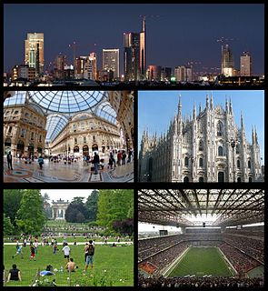 Clockwise, from top: Porta Nuova Business District, Milan Cathedral, San Siro Stadium, Parco Sempione with the Arch of Peace in the background, Galleria Vittorio Emanuele II
