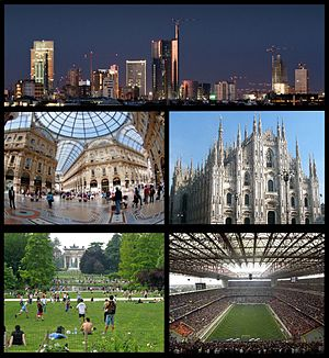 Frae top, clockwise: ((Porta Nuova Business Destrict)), Duomo, San Siro Stadium, Parco Sempione wi the Airch o Peace in the backgrund, Galleria Vittorio Emanuele II