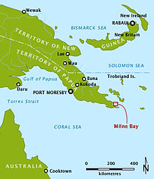 "Map shows Australia's northern tip and Papua-New Guinea. Milne Bay lies at the tip of the ""tail"" of Papua, east of Port Moresby and south of Rabaul."