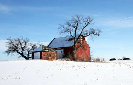 A barn after a winter snow in Clinton County (2010) Milner barn, Sedalia, Indiana.png