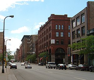 North Loop, Minneapolis - A look down First Avenue in the Warehouse District.