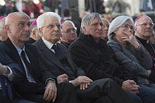Minniti con Sergio Mattarella, don Luigi Ciotti, Rosy Bindi e Nunzio Galantino