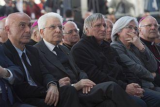 Marco Minniti - Marco Minniti with President Sergio Mattarella, Don Luigi Ciotti and Rosy Bindi in March 2017.