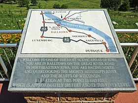 Mississippi overlook sign in Balltown, Iowa.jpg