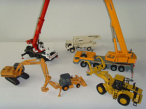 Diecast model construction vehicles from vario...