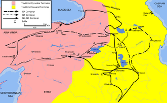 Shahin Vahmanzadegan - Campaign map of Heraclius in 624, 625, and 627–628 through Armenia, Anatolia, and Mesopotamia