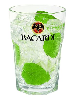 Bacardi Mojito served in bacardi branded glass.