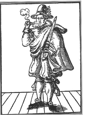 "Mary Frith (""Moll Cutpurse"") scandalized 17th century society by wearing male clothing, smoking in public, and otherwise defying gender roles. Mollcutpurse.jpg"