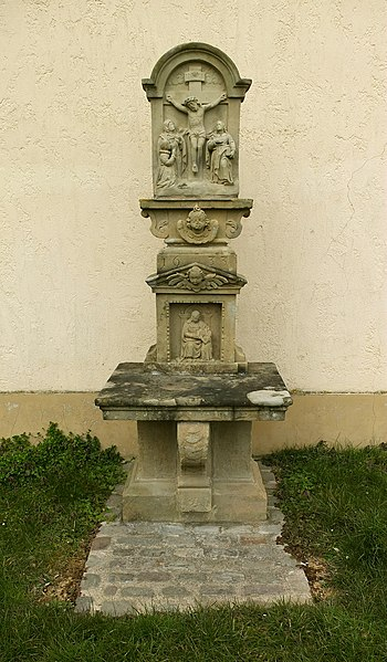 Wayside shrine at the church in Mompach, Luxembourg