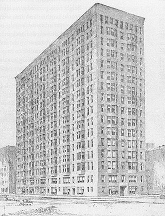 Monadnock Building - Sketch of vastly simplified 1889 design, abolishing ornamentation entirely in favor of plain contoured brick