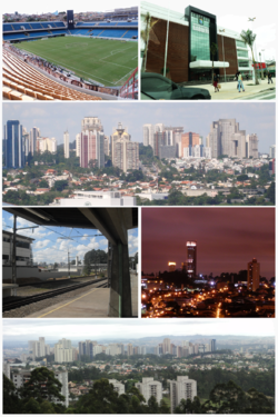 Top left:Arena Barueri football stadium, Top right:Barueri City Hall, 2nd:View of Alphaville commercial center, from Jardim Reginalice (Reginalice Garden), 3rd left:A Platform in Barueri Railroad Station, 3rd right:Twilight view of Itaqural Park area, Bottom:View of Centro area, from Jardim California
