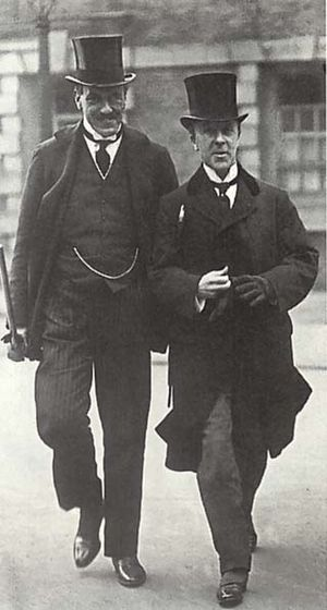Edwin Samuel Montagu - Edwin Montagu (left) Secretary of State for India, shown in the 1910s.