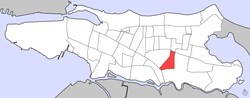 Location of Monteflores within the ضلع of Santurce