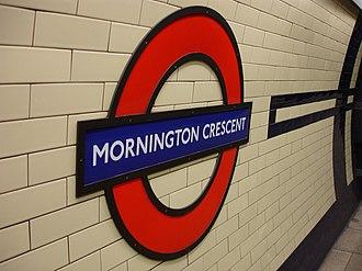 Mornington Crescent (game) - An enamel sign at the Mornington Crescent station, the game's eponym