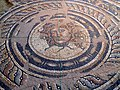 Mosaic floor from the Villa of Dionysos depicting Medusas head in a circular frame, Archaeological Museum, Dion (6930413474).jpg