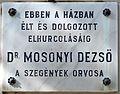 Mosonyi Dezső plaque (Szombathely Király u 1).jpg